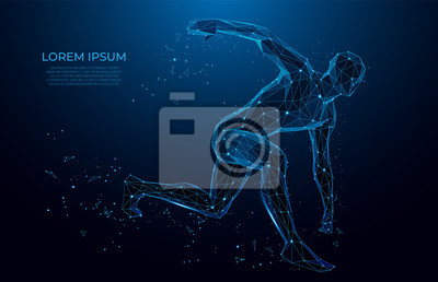 Sticker Human body low poly wireframe. Athlete, Running man from triangles, low poly style. sport concept.Vector polygonal futuristic image. Polygonal wireframe mesh art