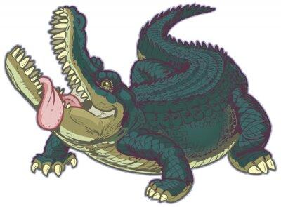 Sticker Hungry Alligator bande dessinée avec la langue pendante