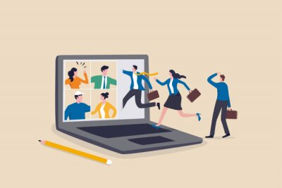 Sticker Hybrid work, remotely work from home virtually or work in office onsite, flexible for employee benefit concept, businessman and his colleague virtually get into the computer laptop conference meeting.