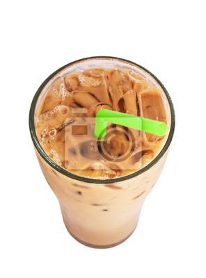 Ice café au lait, célèbre boisson en Thaïlande, isolé sur blanc