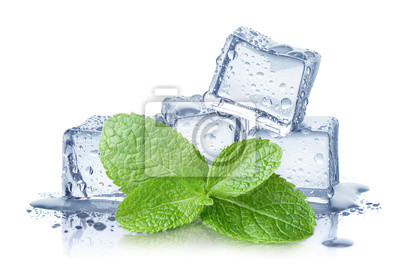 Sticker Ice cubes and fresh mint leaves, isolated on white background