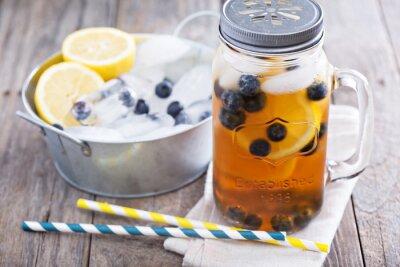 Sticker Ice tea avec du citron et bleuets