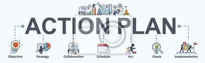 Sticker Icône de bannière de plan d'action web pour les entreprises et le marketing. objectif, stratégie, collaboration, calendrier, planification et mise en œuvre. Infographie vectorielle minimale.