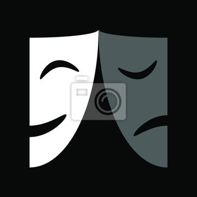 Sticker icône de masques de théâtre ou signe, illustration vectorielle