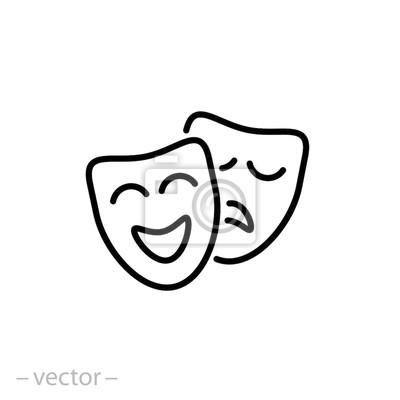 Sticker icône de masques théâtraux signe linéaire vector illustration eps10