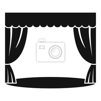 Sticker Icône de rideau de théâtre. Illustration simple d'icône de vecteur de rideau théâtral pour la conception web isolée sur fond blanc