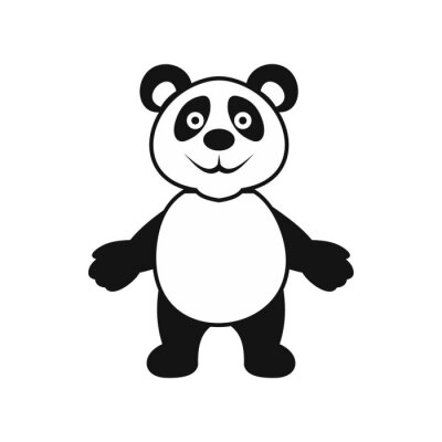 Sticker Icône ours panda, style simple