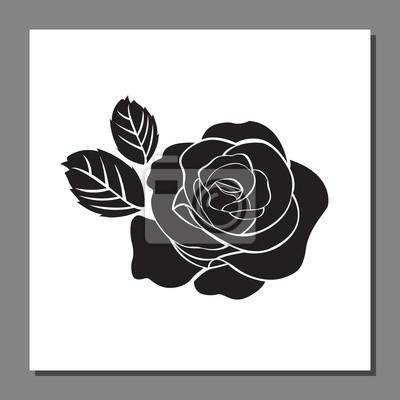 Icone Rose Noire Sur Cadre Illustration Vectorielle Fleur Stickers