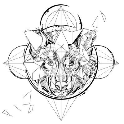 Icone Triangulaire Tete Danimal Dessin Geometrique De Ligne