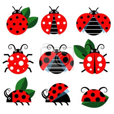 Dessin Coccinelle Rigolote icônes de coccinelle. mignon, coccinelles, rigolote, insecte