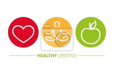 Sticker icônes de mode de vie sain yoga coeur et illustration vectorielle pomme EPS10