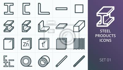 Sticker Icônes de produits métalliques et en acier. Métallurgie industrie vector icons set. Ensemble de métal déployé, barre en acier i-beam, acier laminé, armature, armature.