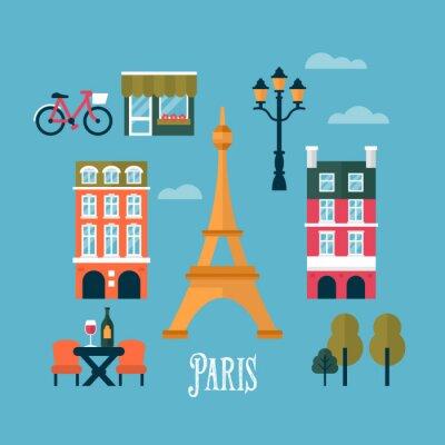 Sticker Icônes élégants plats pour Paris, France. Voyage et tourisme infogra