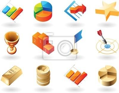 Icônes isométrique de style pour affaires abstrait
