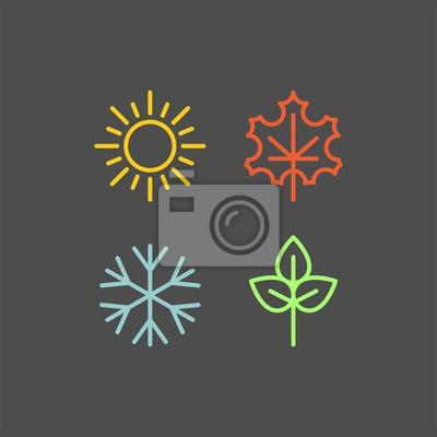 Sticker Icônes vectorielles plat de saisons