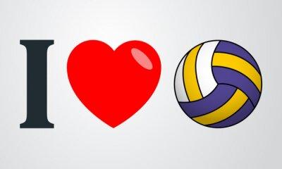 Sticker Icono plano j'aime voleibol couleur en fond dégradé