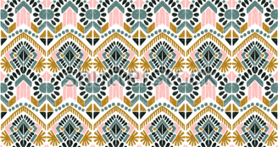 Sticker Ikat geometric folklore ornament. Tribal ethnic vector texture. Seamless striped  pattern in Aztec style. Figure tribal  embroidery. Indian, Scandinavian, Gypsy, Mexican, folk pattern.