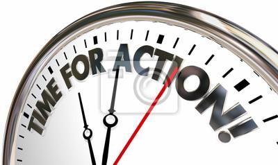 Sticker Il est temps d'agir Prenez le contrôle maintenant Clock Words 3d Illustration