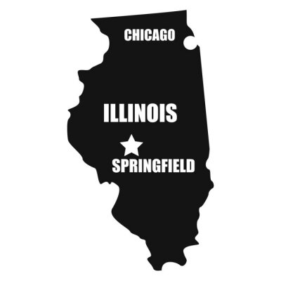 Illinois map in black on a white background