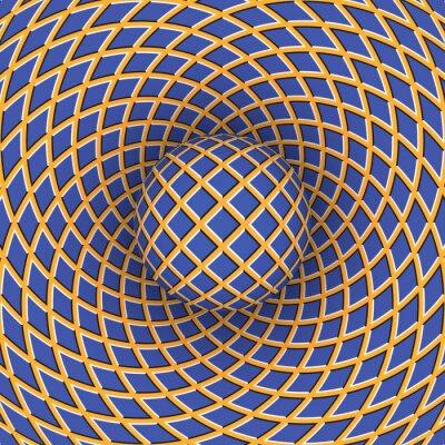 Sticker Illusion d'optique de rotation de la balle sur le fond d'un espace mobile.