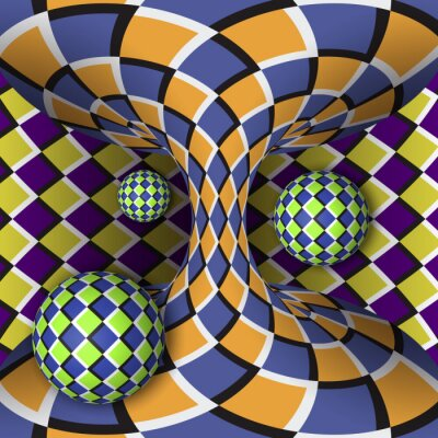 Sticker Illusion optique de rotation de trois boules autour d'un hyperboloïde en mouvement. Résumé fond.