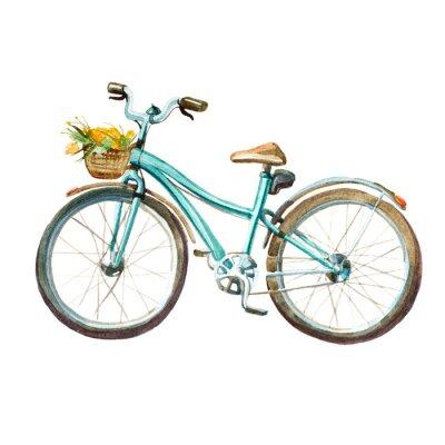 Sticker Illustration aquarelle. Bicyclette à menthe de fille avec un panier plein de fleurs jaunes.