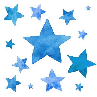 Sticker Illustration aquarelle d'ensemble d'étoiles bleues