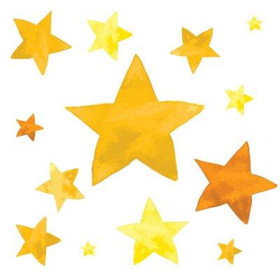 Sticker Illustration aquarelle d'ensemble d'étoiles jaunes