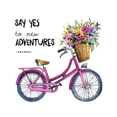 Sticker Illustration aquarelle d'un vélo avec des fleurs