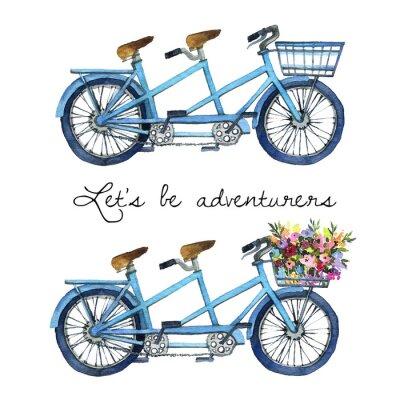 Sticker Illustration aquarelle d'un vélo en tandem