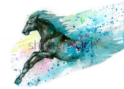 Sticker Illustration aquarelle de cheval. Dessiné à la main