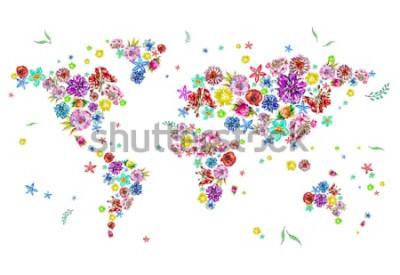 Sticker Illustration aquarelle de la carte du monde en fleurs