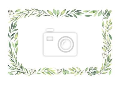 Sticker Illustration aquarelle dessinée à la main. Bordure rectangulaire botanique avec des branches et des feuilles vertes. Humeur printanière. Éléments de design floral. Parfait pour les invitations, cartes