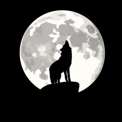 Sticker Illustration carré de loup hurlant à la lune.