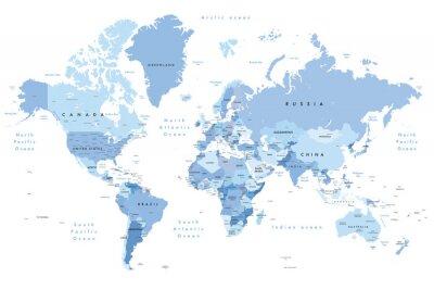 Sticker Illustration colorée d'une carte du monde indiquant les noms de pays, les noms d'États (États-Unis et Australie), les capitales, les principaux lacs et les océans. Imprimez au moins 36
