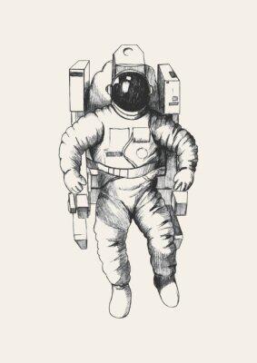 Sticker Illustration Croquis d'un astronaute