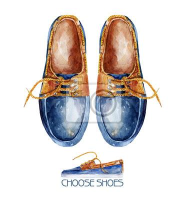 Illustration d'aquarelle avec paire de chaussures. Chaussures hommes élégants.