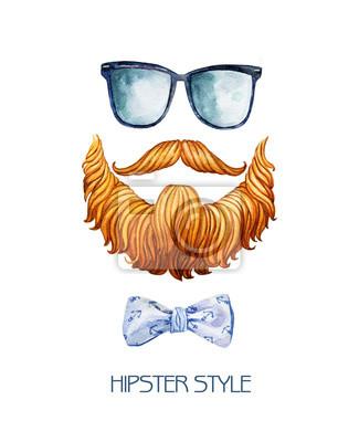 Illustration d'aquarelle avec une barbe, des lunettes et un nœud papillon. Élégant hippie populaire réglé.