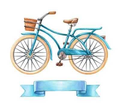 Sticker Illustration d'aquarelle, bicyclette bleue, vélo rétro, étiquette de ruban vierge, bannière, étiquette, clip art de transport isolé sur fond blanc
