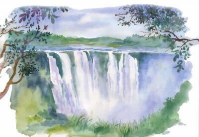 Sticker Illustration d'aquarelle de belle cascade