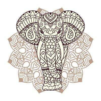 Sticker Illustration d'éléphant décoratif