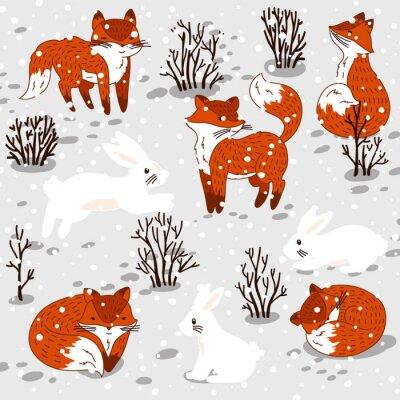 Sticker Illustration d'hiver avec des renards et un lapin mignons.