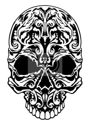 Illustration d'un crâne avec des motifs.