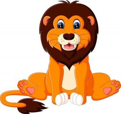 Sticker Illustration de bande dessinée de lion de bébé mignon