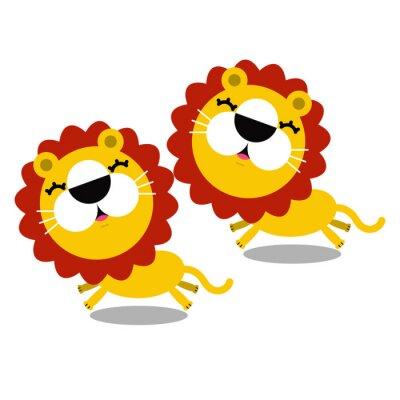 Sticker illustration de bande dessinée mignonne de lions