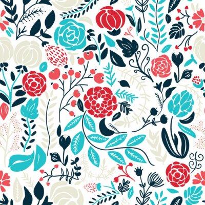 Sticker Illustration de belles fleurs dessinées à la main