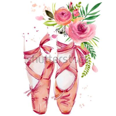 Sticker illustration de chaussures de ballet aquarelle