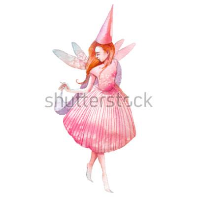 Sticker Illustration de fées aquarelles. Personnage de conte de fées isolé sur fond blanc peint à la main. Fille de dessin animé avec des ailes d'art