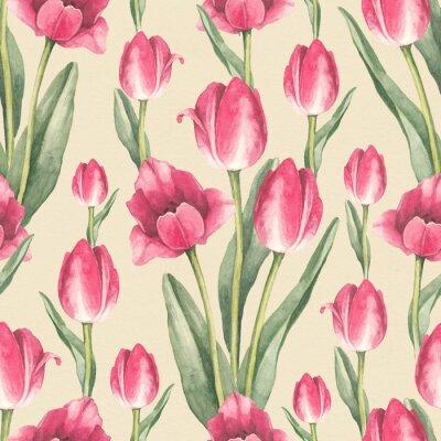 Sticker Illustration de fleurs de tulipes. Motif sans couture d'aquarelle
