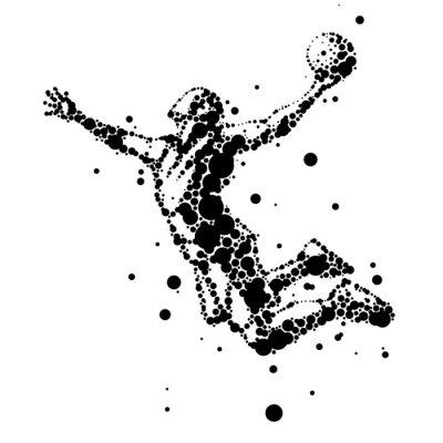 Sticker illustration de joueur de basket résumé en saut